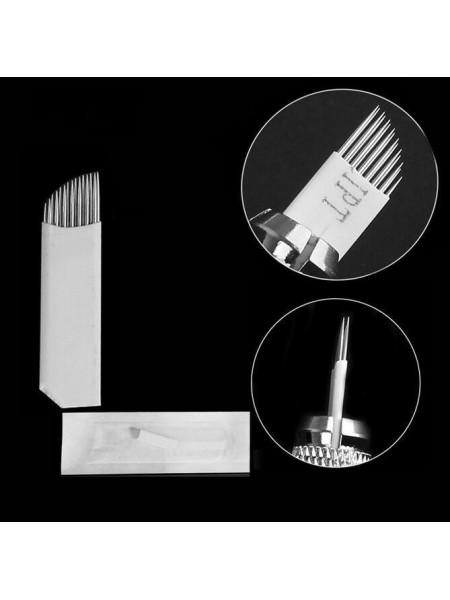 15 pins в два ряда 0.35мм игла 5шт. для микроблейдинга Серебро Steel sheath скошенная